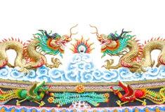 Κινεζικό άγαλμα δράκων ύφους στο λευκό που απομονώνεται Στοκ Εικόνες