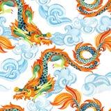 Κινεζικό άνευ ραφής σχέδιο δράκων Ασιατική απεικόνιση δράκων Στοκ Εικόνα