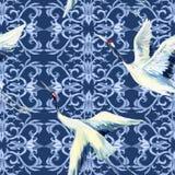 Κινεζικό άνευ ραφής σχέδιο watercolor Στοκ φωτογραφίες με δικαίωμα ελεύθερης χρήσης