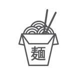 Κινεζικό ή ασιατικό εξαγωγέα κιβώτιο με τα νουντλς και ιαπωνικό kanji που λένε τα νουντλς ` ` Στοκ Φωτογραφίες