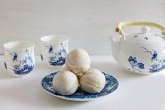 Κινεζικό αρχαίο επιδόρπιο αποκαλούμενο «τη Pia» ή Mung κέικ πλήρωσης φασολιών Στοκ Εικόνες