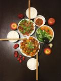 Κινεζικό γεύμα για την οικογένεια τρία Στοκ εικόνα με δικαίωμα ελεύθερης χρήσης