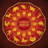 Κινεζικό ημερολόγιο με όλες Zodiac τις σκιαγραφίες ζώων, διανυσματική απεικόνιση Στοκ Εικόνες