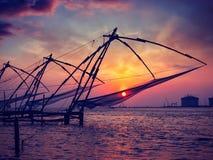 κινεζικό ηλιοβασίλεμα koch Kochi, Κεράλα, Ινδία Στοκ εικόνες με δικαίωμα ελεύθερης χρήσης
