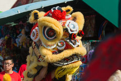 Κινεζικό λιοντάρι κατά τη διάρκεια της 117ης χρυσής παρέλασης δράκων στοκ φωτογραφία με δικαίωμα ελεύθερης χρήσης