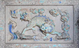 Κινεζικό ιστορικό γλυπτό που διακοσμείται στον τοίχο ναών Στοκ Φωτογραφίες