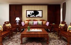 Κινεζικό καθιστικό, τρισδιάστατο υπόβαθρο απεικόνισης Στοκ Εικόνα