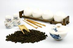 κινεζικό καθορισμένο λευκό τσαγιού ανασκόπησης Στοκ Εικόνα