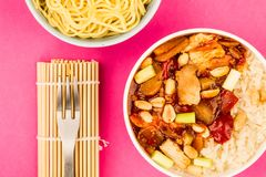 Κινεζικό κοτόπουλο Kung Po ύφους με το ρύζι Στοκ φωτογραφία με δικαίωμα ελεύθερης χρήσης