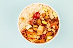 Κινεζικό κοτόπουλο Kung Po ύφους με το ρύζι Στοκ εικόνες με δικαίωμα ελεύθερης χρήσης