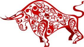 Κινεζικό κόκκινο βόδι με το πρότυπο Στοκ φωτογραφίες με δικαίωμα ελεύθερης χρήσης