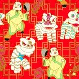 κινεζικό λιοντάρι χορού διανυσματική απεικόνιση