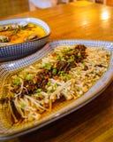 Κινεζικό μαγειρευμένο Flammulina με το κρέας κομματιάζει στην κορυφή Στοκ εικόνες με δικαίωμα ελεύθερης χρήσης