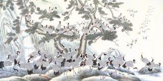 Κινεζικό μελάνι του γερανού Στοκ εικόνα με δικαίωμα ελεύθερης χρήσης
