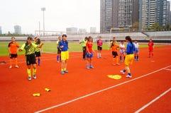 Κινεζικό μικρό κορίτσι στην κατάρτιση Στοκ Εικόνα