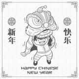 Κινεζικό νέο έτος ευχετήριων καρτών με το διάνυσμα κινούμενων σχεδίων χορού λιονταριών, την αφίσα ή το σχέδιο εμβλημάτων, εορτασμ απεικόνιση αποθεμάτων