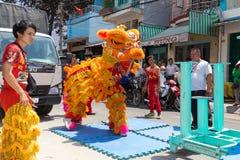 κινεζικό νέο έτος λιονταριών χορού Στοκ Φωτογραφίες
