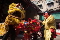 Κινεζικό νέο έτος, ο χορός λιονταριών Στοκ Φωτογραφίες