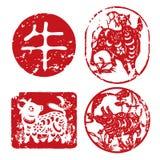 κινεζικό νέο έτος σφραγίδ&omeg Διανυσματική απεικόνιση