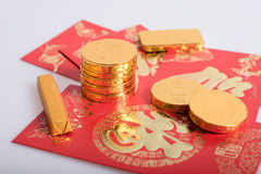 Κινεζικό νέο έτος, χρυσά νομίσματα Στοκ Φωτογραφίες