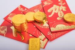 Κινεζικό νέο έτος, χρυσά νομίσματα Στοκ Εικόνα