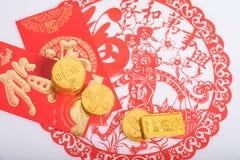 Κινεζικό νέο έτος, χρυσά νομίσματα Στοκ Εικόνες
