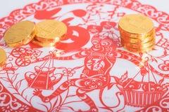 Κινεζικό νέο έτος, χρυσά νομίσματα Στοκ Φωτογραφία