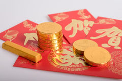 Κινεζικό νέο έτος, χρυσά νομίσματα Στοκ φωτογραφίες με δικαίωμα ελεύθερης χρήσης