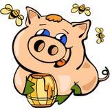 Κινεζικό νέο έτος Piggy, κινούμενα σχέδια, εορτασμός, σχέδιο, διασκέδαση, ευτυχία διανυσματική απεικόνιση