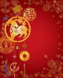 Κινεζικό νέο διακοσμητικό υπόβαθρο έτους Στοκ Εικόνα