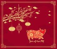 Κινεζικό νέο υπόβαθρο έτους με την ένωση των φαναριών Έτος του χοίρου Στοκ Φωτογραφία