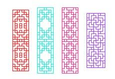 Κινεζικό πλαίσιο παραθύρων ορθογωνίων στο διανυσματικό σχέδιο Στοκ εικόνες με δικαίωμα ελεύθερης χρήσης