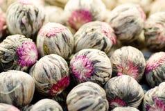 Κινεζικό πράσινο τσάι λουλουδιών ως φυσικό υπόβαθρο Στοκ Εικόνες