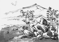 Κινεζικό τοπίο ζωγραφικής Στοκ Εικόνα