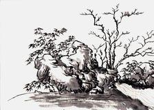 Κινεζικό τοπίο ζωγραφικής Στοκ εικόνα με δικαίωμα ελεύθερης χρήσης