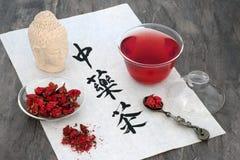 Κινεζικό τσάι λουλουδιών χορταριών ροδιών Στοκ Φωτογραφία