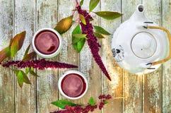 Κινεζικό τσάι πορσελάνης που τίθεται με το κόκκινο τσάι σε έναν ξύλινο Στοκ φωτογραφία με δικαίωμα ελεύθερης χρήσης