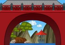 Κινεζικό υπόβαθρο θέματος με τον τοίχο και το pavillion απεικόνιση αποθεμάτων