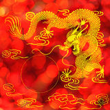κινεζικό χρυσό άγαλμα δράκων Στοκ Φωτογραφία
