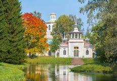 Κινεζικό χωριό το φθινόπωρο σε Tsarskoe Selo Pushkin, Άγιος Πετρούπολη, Ρωσία στοκ εικόνα με δικαίωμα ελεύθερης χρήσης