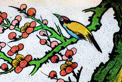 Κινεζικό ύφος τέχνης στον τοίχο ναών Στοκ Εικόνες
