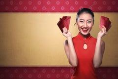 Κινεζικό angpao εκμετάλλευσης γυναικών Στοκ Εικόνα