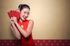 Κινεζικό angpao εκμετάλλευσης γυναικών Στοκ Φωτογραφίες