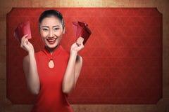 Κινεζικό angpao εκμετάλλευσης γυναικών Στοκ εικόνες με δικαίωμα ελεύθερης χρήσης