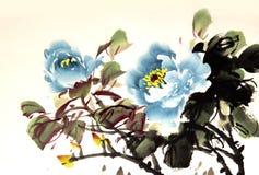Κινεζικό peony σχέδιο μελανιού Στοκ φωτογραφίες με δικαίωμα ελεύθερης χρήσης