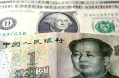 Κινεζικό Yuan στο αμερικανικό δολάριο Στοκ Εικόνα