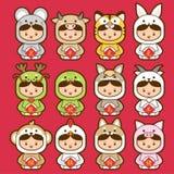 12 κινεζικό zodiac, καθορισμένη κινεζική μετάφραση εικονιδίων: 12 κινεζικά zodiac σημάδια: αρουραίος, βόδι, τίγρη, κουνέλι, δράκο Απεικόνιση αποθεμάτων