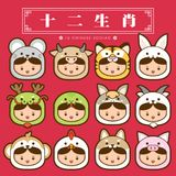 12 κινεζικό zodiac, καθορισμένη κινεζική μετάφραση εικονιδίων: 12 κινεζικά zodiac σημάδια: αρουραίος, βόδι, τίγρη, κουνέλι, δράκο διανυσματική απεικόνιση