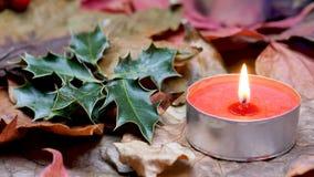 Κινηματογράφηση σε πρώτο πλάνο σε έναν κόκκινο ελαιόπρινο κεριών και Χριστουγέννων κεριών απόθεμα βίντεο