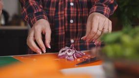 Κινηματογράφηση σε πρώτο πλάνο δύο κορίτσια στο κομμένο κουζίνα κόκκινο κρεμμύδι για τη σαλάτα απόθεμα βίντεο